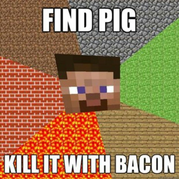 minecraft-find-pig-kill-it-with-bacon